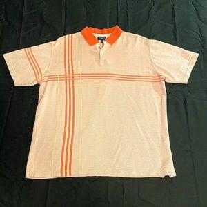 Burberry Golf Pink Striped Polo Shirt Mens Small